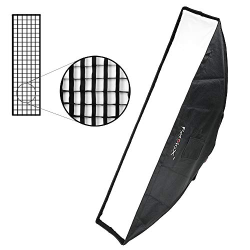 Fotodiox Pro 12x56 Strip Softbox Plus Grid (Eggcrate) for Studio Strobe/Flash with Soft Diffuser and Dedicated Speedring Insert, for Alien Bees, Alienbees