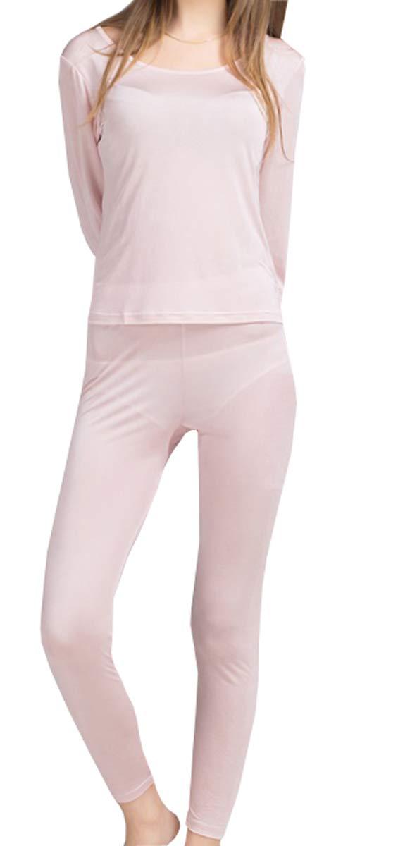 METWAY Women's Silk Long Johns Silk Thermal Underwear Sets|Winter Silk Long Underwear(Large, Pink) by METWAY