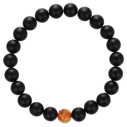 Gemstone Beaded Bracelet, BRCbeads Matte Black Onyx with Synthetic Amber Natural Genuine Gemstones Birthstone Handmade Healing Power Crystal Elastic Stretch 8mm with Gift Box Unisex