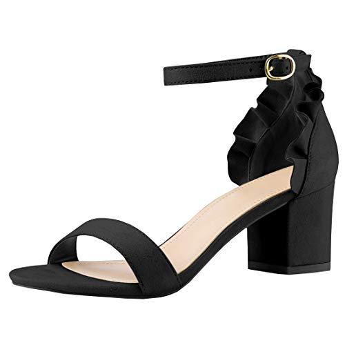 Women's Strappy Chunky Block High Heel - Formal, Wedding, Party Simple Classic Pump Black Strappy Peep Toe