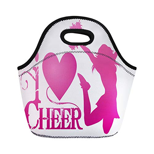 (Semtomn Lunch Bags I Love Cheer Jumping Cheerleader Is of for Express Neoprene Lunch Bag Lunchbox Tote Bag Portable Picnic Bag Cooler Bag)