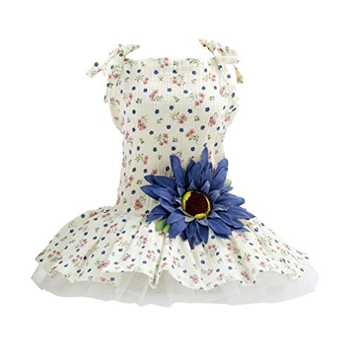 LVYING Summer Dog Dress Sling Princess Floral Big Daisy Ornament Sweety Dogs Clothes Costume -