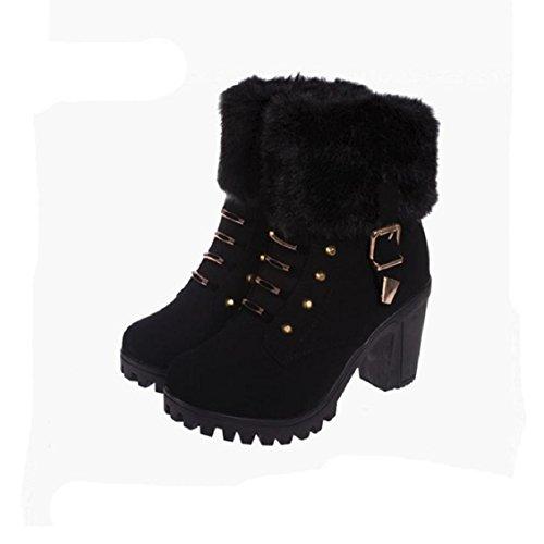 Naladoo Fashion Hak Enkellaarzen Damesschoenen Winter Laarzen Vierkant Hakken Platform Pluche Rits Martin Laarzen Zwart