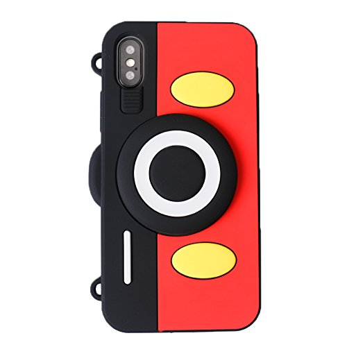 Soft Silicone Mickey Mouse Camera Case with Length Adjustable Strap for iPhone X 10 iPhoneX Red Black Color 3D Disney Cartoon Wearable Cute Lovely Fashion Kawaii Design Gift Girls Teens Kids Boy Women