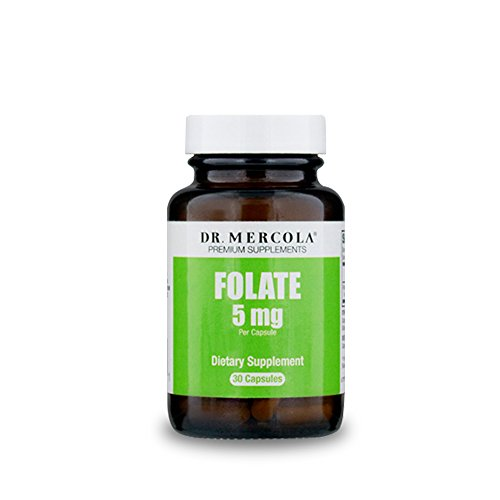 Dr. Mercola Folate – 30 Capsules – 5-MTHF – Vitamin B9 L-Methylfolate – Supports Cardiovascular, Brain Health – Enhances Digestive & Immune Function, Cell & Tissue Growth* For Sale