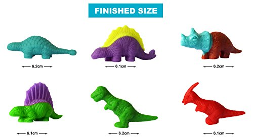 SUPRBIRD Kids Dough Dinosaur Playset Toys DIY Clay and Molds Set - Includes 6 Tubs of Play Doh Modelling Compound