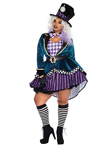 Leg Avenue Women's Plus Size Mad Hatter Costume, Multi 1X / 2X ()