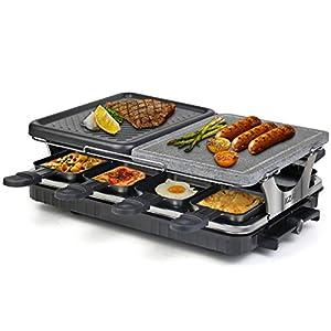 Raclette 8 Persone Griglia Raclette 2 In 1 con Pietra Ollare, Piastra per Raclette con 8 Mini Padelle e 4 Spatole in… 15