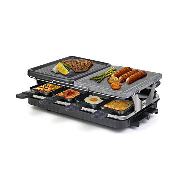 Raclette 8 Persone Griglia Raclette 2 In 1 con Pietra Ollare, Piastra per Raclette con 8 Mini Padelle e 4 Spatole in… 1