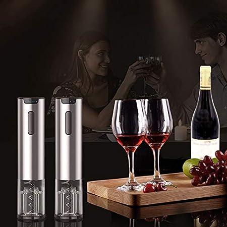 AILSAYA Eléctrica Vino Abrebotellas Equiparla Recargable Automático Sacacorchos, Contiene Papel De Aluminio Partido De Corte Y Vertedor De Vino Aireador De Vino para Los Amantes del Vino (4 Piezas)