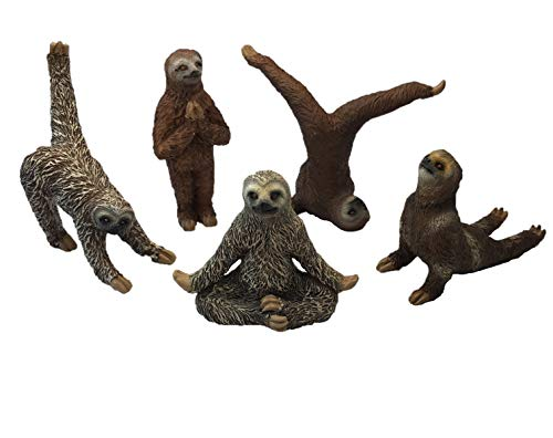 (Bella Haus Design Yoga with Sloths Figurines Set of Five Sloth Statue Action Figures, Sloth Yoga Decor- 3