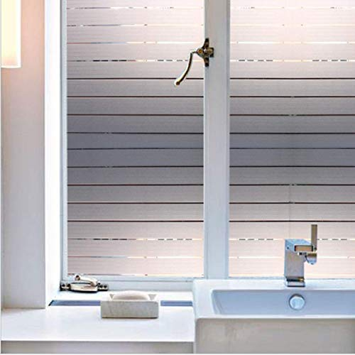 (Bathroom Office 35.5 by 78.7 Inches(90 x 200CM Privacy Non-Adhesive White Stripe Glass Window Film Heat Control Decorative Blind Window Glass Film)