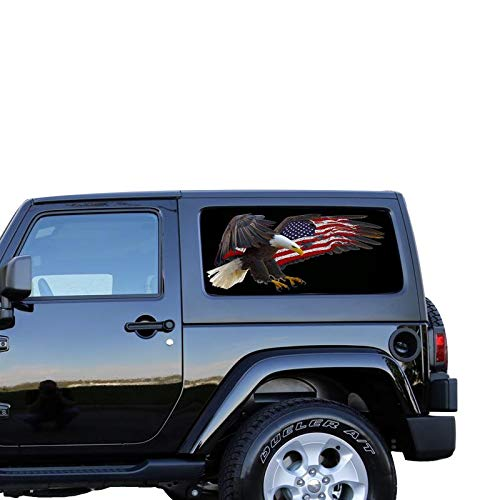 Fish Decal Set - Gold Fish Decals Set Window Perforated See Thru Graphic Eagle 3 Decal Sticker Compatible with Jeep Wrangler 2 Doors JK -Rubicon