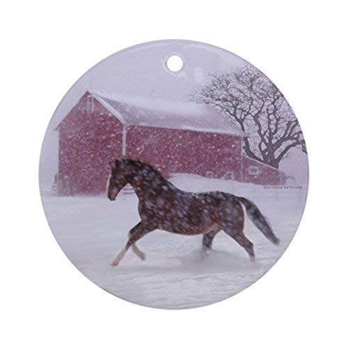 Lionkin8 Funny Christmas Ornaments Let It Snow! Christmas Tree Horse Barn Round Xmas Holiday Ornaments Christmas Tree Decorations - 3 inch