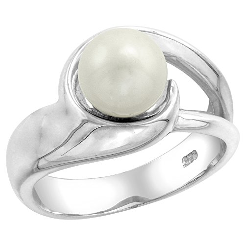 Sterling silver Pearl Ring for Women Swirl 1/2 inch wide size 8 - Freshwater Pearl Swirl Ring