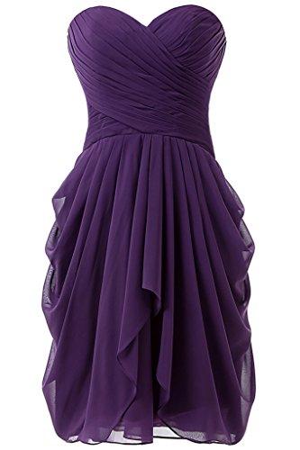 (HONGFUYU Women's Chiffon Bridesmaid Dress Short Homecoming Prom Dresses Purple US12)