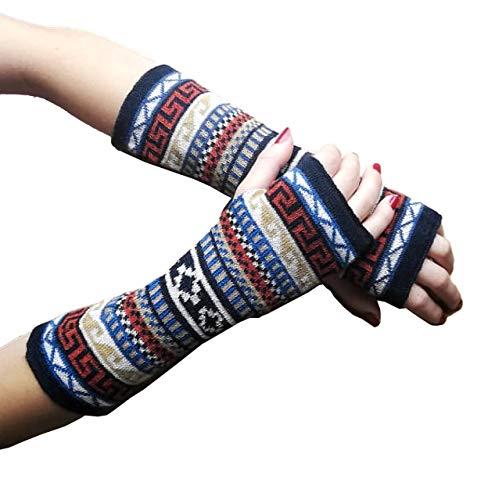 TINKUY PERU - Peruvian Alpaca Wool Fingerless Mitten Des Gants Multicolor Gloves (Black)