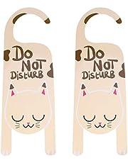 Do Not Disturb Sign Door Hanger Sign Cat Door Knob Hanger Sign for Home, Office, Clinic, Hotel, 2 Pack 25 x 8CM