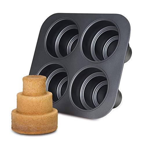 Chicago Metallic Multi Tier Cake Pan 4 Cavity, 10.6 x 9.60 x 4.5 - Mini Cake Tier Three Pan