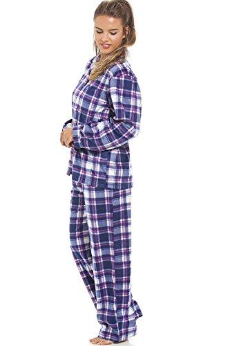 Camille - Conjunto de pijama de forro polar - Para mujer - Estampado a cuadros morados Morado