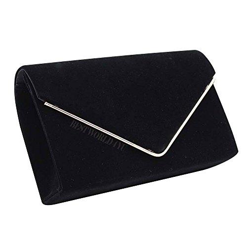 Wocharm UK Evening Women Suede Bridal Envelope Clutch Club Party Prom Handbag Shoulder Bag Black