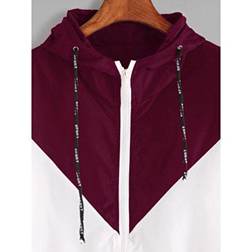 Vintage m Femme ete Manteau Patchwork Sweats Capuche Culture Coat Chic Mince Longues Manches Sport Poches Racebody Rouge Simple Taille zipp l Grande Automne 6A0fqrw6