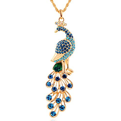 18k Gold Plated Pendant - 18k Gold Plated Peacock Pendant Necklace Women's Fashion by NYKKOLA