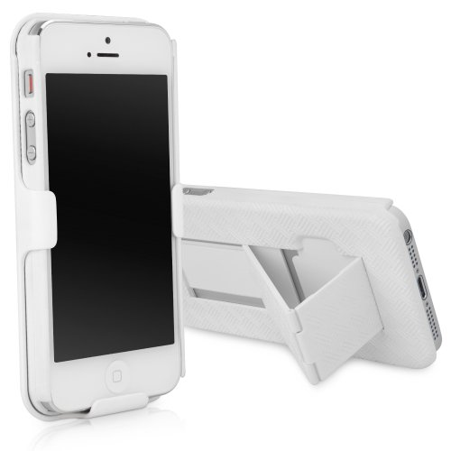 iPhone 5 Holster, BoxWave [Dual+ Holster Case] Shell Cover and Belt Clip Holster with Kickstand for Apple iPhone 5, SE, 5s - Winter White