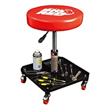 Torin TR6350 Rolling Pneumatic Creeper Garage/Shop Seat: Padded Mechanic Stool with Tool Tray, Red