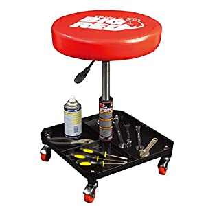 Torin Big Red Rolling Pneumatic Creeper Garage/Shop Seat: Padded Adjustable Mechanic Stool, Red