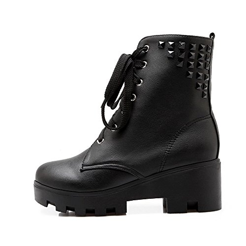 Heels Boots Kitten up Solid Low Lace Black Women's AgooLar top PU xzq8pTwxS