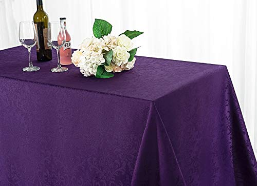 - Wedding Linens Inc. 90 Inch x 132 Inch Rectangular Jacquard Damask Polyester Tablecloths Table Cover Linens for Restaurant Kitchen Dining Wedding Party Banquet Events - Eggplant