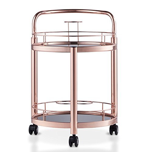 Furniture of America Cara Contemporary 2-tier Rose Gold Mobile Serving Cart