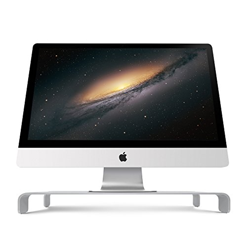 iQunix Spider Thick Aluminum Monitor Stand Computer Riser Silver Holder for Monitor / Laptop / iMac / MacBook / PC with Keyboard Storage Large