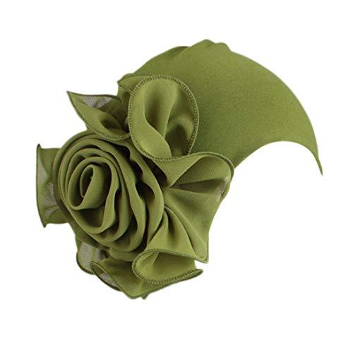 - Women Ladies Retro Big Flowers Hat Turban Brim Hat Cap (Army Green)