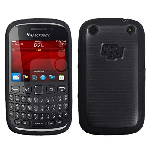 Insten TPU Rubber Candy Skin Transparent Case Cover Compatible with BlackBerry Curve 9310/9315, Smoke/Black