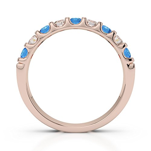 Or Rose 18carats 0.29CT G-H/VS Certifié Coupe ronde Topaze bleue et diamants Agdr-1108