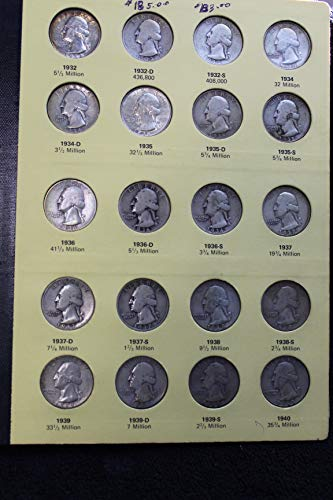 Complete Set Washington Quarters 1932 - 1972 PDS in Library of Coins Album All Key Dates including 1932 P&D Many Better Grade Including Unc and Proof -- Complete Set -- 100 Beautiful Coins -- 83 are Silver
