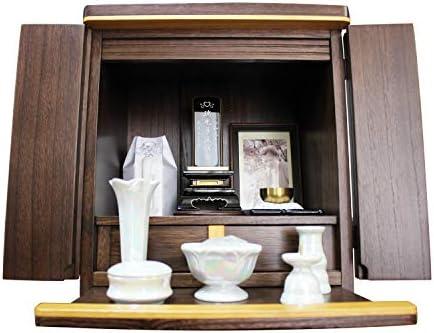 ミニ仏壇 桐 木製 モダン ウォールナット 家具調 パーツ仏具 おりん フォトフレーム付き