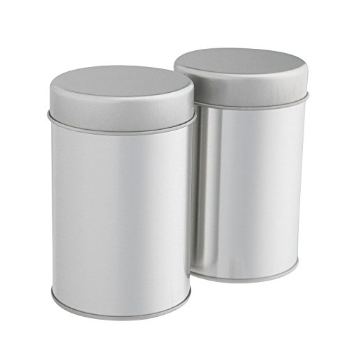 - Tea Tins Canister Set with Airtight Double Lids for Loose Tea - Small Kitchen Canisters for Tea Coffee Sugar Storage, Loose Leaf Tea Tin Containers by SilverOnyx - Tea Canisters - 2 pc