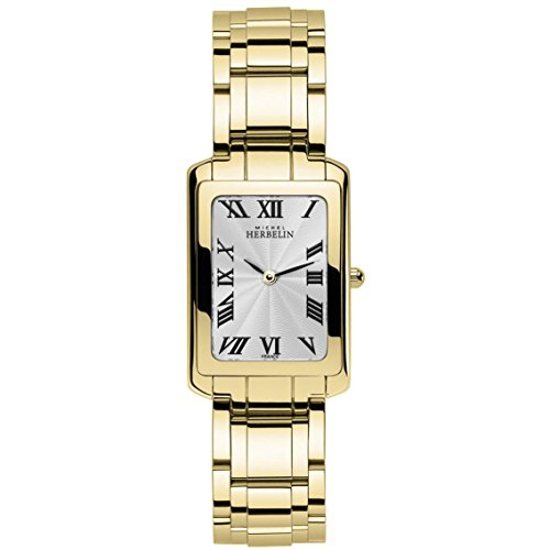 Michel Herbelin Women's Gold Plated Bracelet & Case Quartz Silver-Tone Dial Analog Watch 17479/BP08