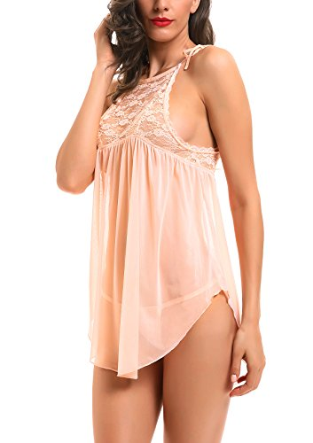ADORNEVE Women Sexy Lingerie Set Floral Lace Chemise Strap Babydoll Sleepwear with Thong