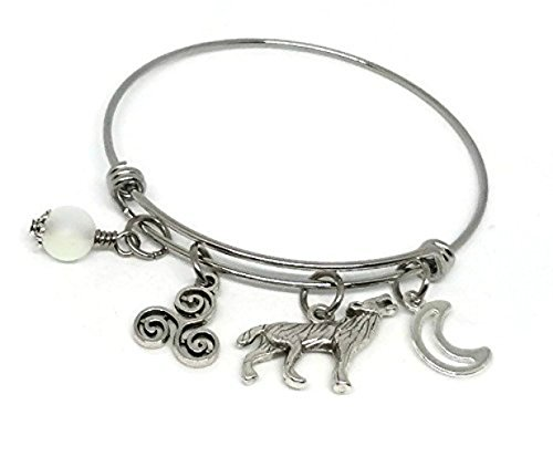 Teen Wolf Charm Bangle with Triskelion, Moon and Werewolf Charms - Scott's Triskele Symbol Jewelry - Derek Hale Tattoo
