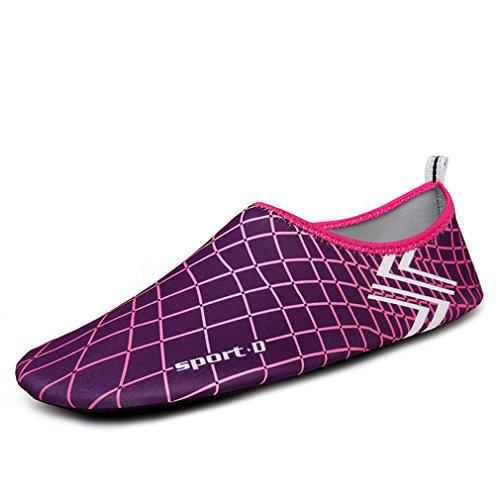KEESKY Männer Frauen Barfuß Wasser Schuhe Quick Dry Slip Auf Aqua Socken Für Beach Pool Aerobic Lila