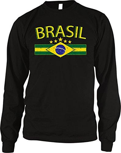 - Brazil Flag and Country Emblem Men's Long Sleeve Thermal Shirt, Amdesco, Black Small