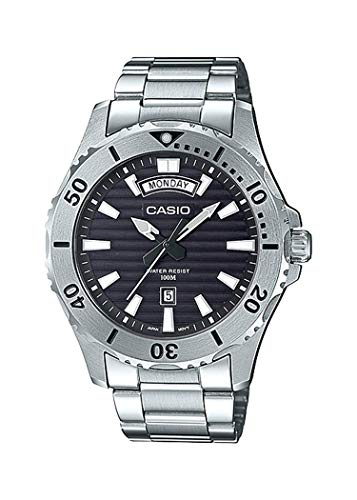 Casio MTD1087D-1AV Men's Stainless Steel Day Date Black Dial 100M Sports Watch