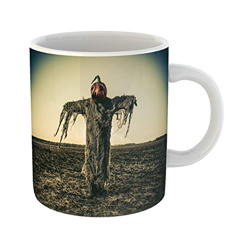 Emvency Coffee Tea Mug Gift 11 Ounces Funny Ceramic Halloween Legend Portrait of Jack Lantern Pumpkin on His Head Standing in the Gifts For Family Friends Coworkers Boss -