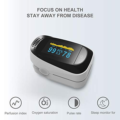 Oxygen Levels and PR Monitor LED Display Home Use Sleep monitoring data record Without Battery Traveling Use Easy to Carry