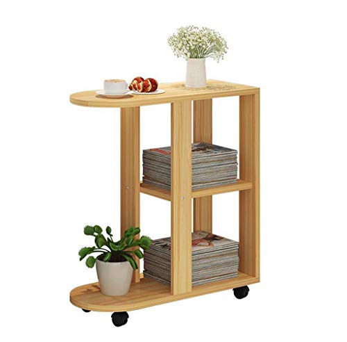 Folding table- Wheeled Bedroom Bedside Table, Wooden Living Room Sofa Table Small Table Dessert Table Bedroom Small Desk Multi-function Storage Table Small Round Table Computer Table 603066.4cm tabl ()