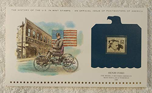 Henry Ford - The Model T Becomes America's Most Popular Automobile - Postage Stamp (1968) & Art Panel - History of the United States: an official issue of Postmasters of America - Limited Edition, 1979 - Tin Lizzy